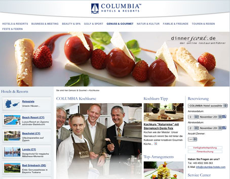 COLUMBIA HOTELS RESORTS in neuem Internetglanz