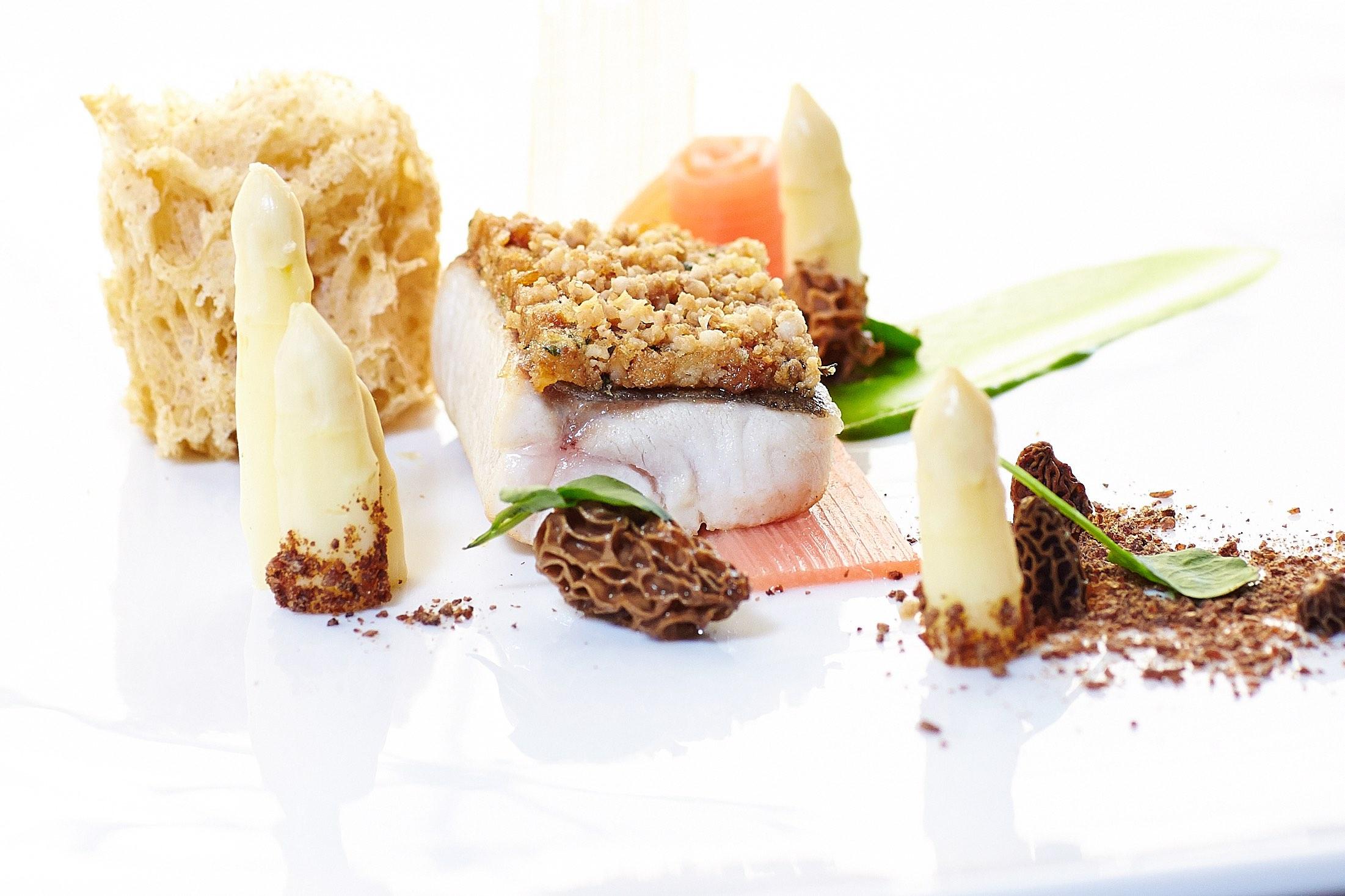 salzburgerhof-seesaiblingsfilet--grammelkruste-spargel-rhabarber-brunnenkresse-und-morcheln